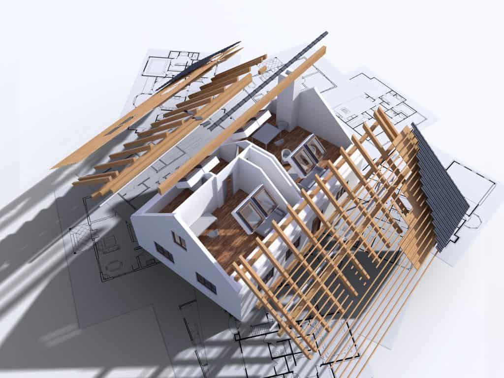 Building house on blueprints. Visualization of house construction. 3D illustration
